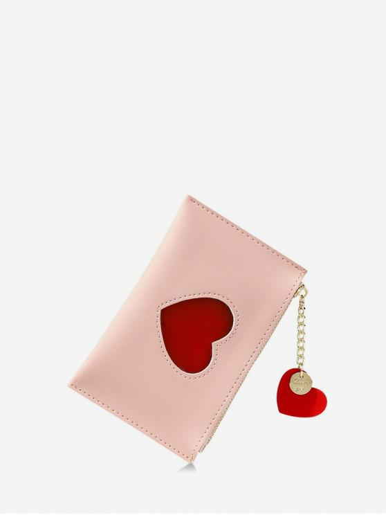 hot Heart Pattern Pendant Card Coin Purse - ROSE