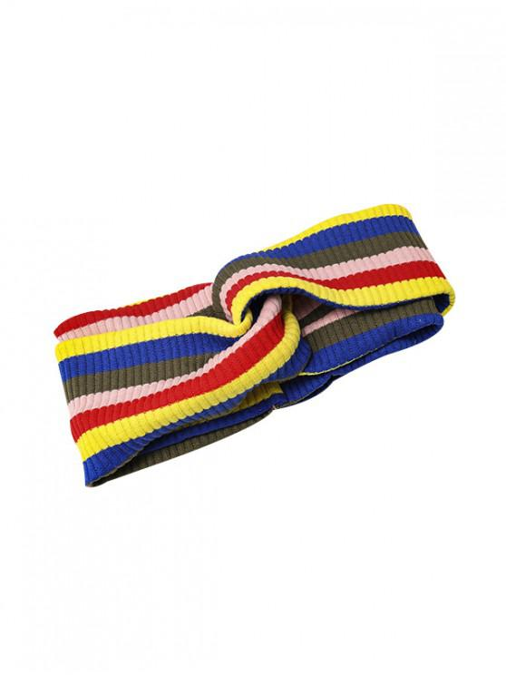 outfit Striped Sporty Knitted Elastic Headband - BLUE