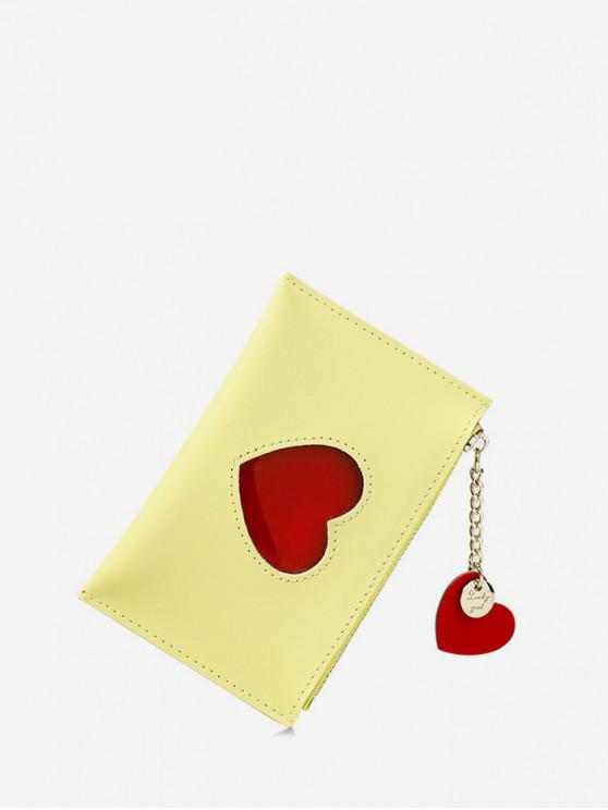 trendy Heart Pattern Pendant Card Coin Purse - CORN YELLOW