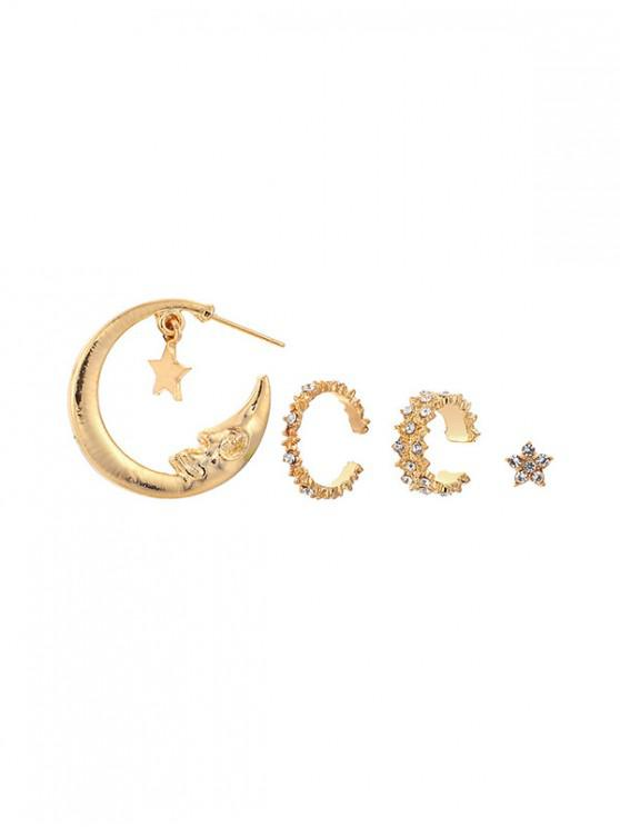 fashion 4Pcs Moon Star Rhinestone Earrings Set - GOLD