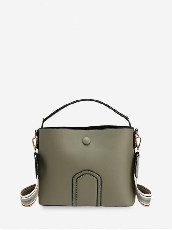 Einfache Einfarbige Schultertasche aus Leder - Dunkles Meergrün