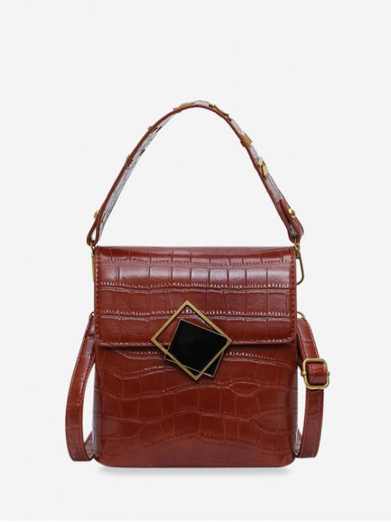 outfits Buckle Design Square Leather Shoulder Bag - BROWN