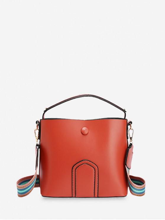 shops Leather Simple Solid Shoulder Bucket Bag - ORANGE
