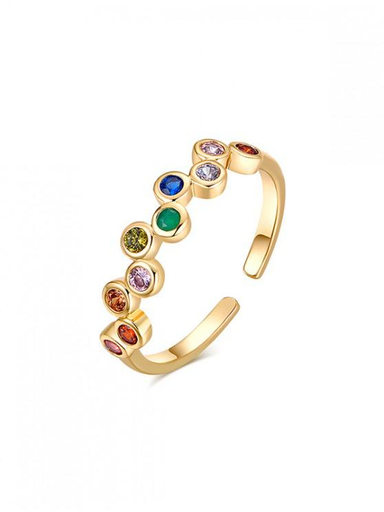 trendy Faux Gem Inlaid Open Ring - MULTI-A