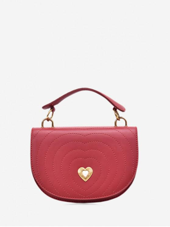 chic Crossbody Heart Shape Shoulder Bag - RED