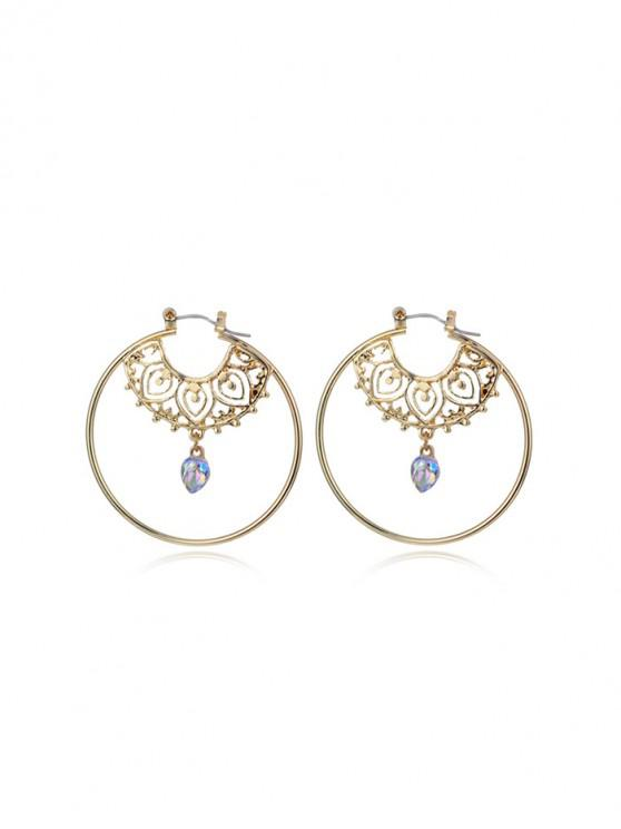 women Hollowed Round Statement Dangle Earrings - GOLD