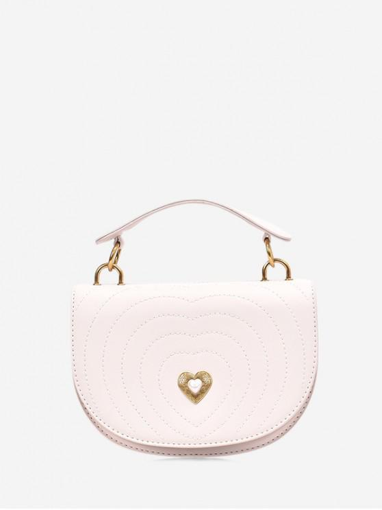 ladies Crossbody Heart Shape Shoulder Bag - WHITE