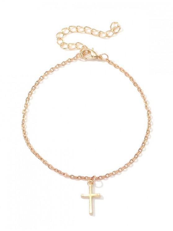 fashion Metal Simple Cross Pattern Pendant Anklet - GOLD