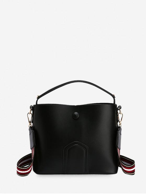 Einfache Einfarbige Schultertasche aus Leder - Schwarz