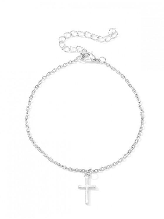 online Metal Simple Cross Pattern Pendant Anklet - SILVER