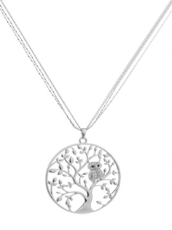 hot Owl Tree Design Alloy Necklace - SILVER