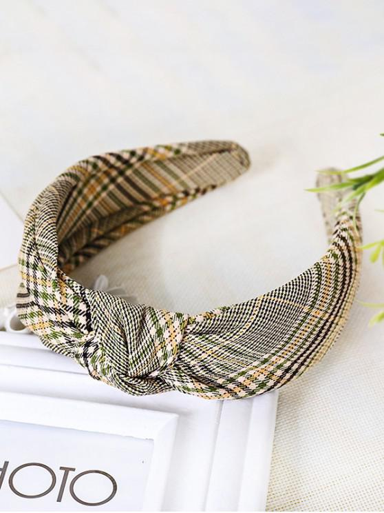 trendy Plaid Pattern Knot Wide Hairband - GREEN