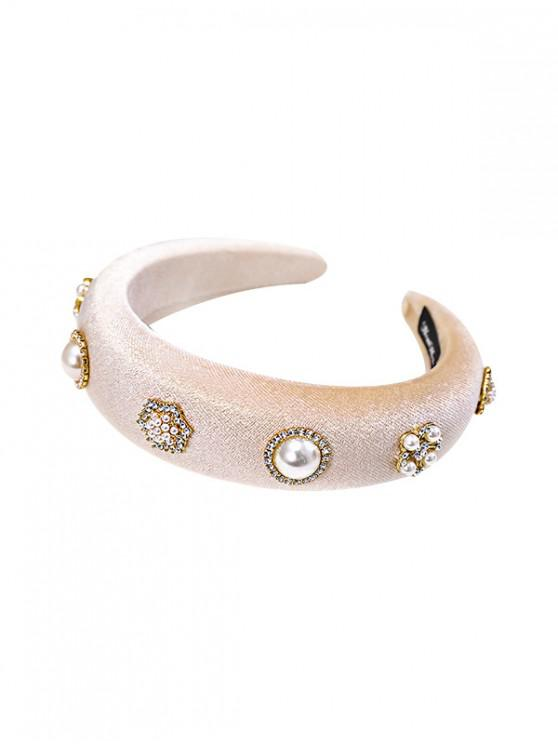 affordable Faux Pearl Rhinestone Velour Hairband - BEIGE