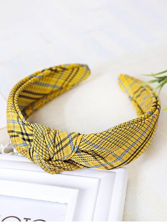 buy Plaid Pattern Knot Wide Hairband - YELLOW