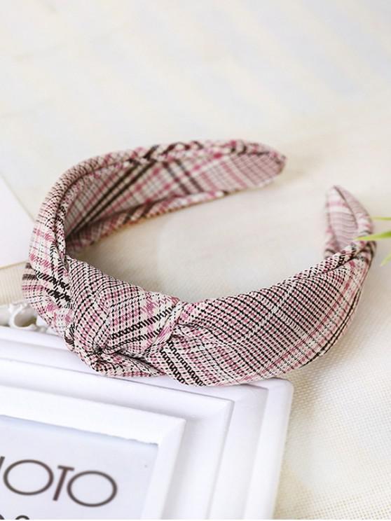 lady Plaid Pattern Knot Wide Hairband - PINK