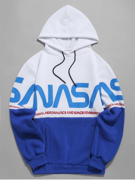 latest Letter Color-blocking Printed Hoodie - BLUE XL