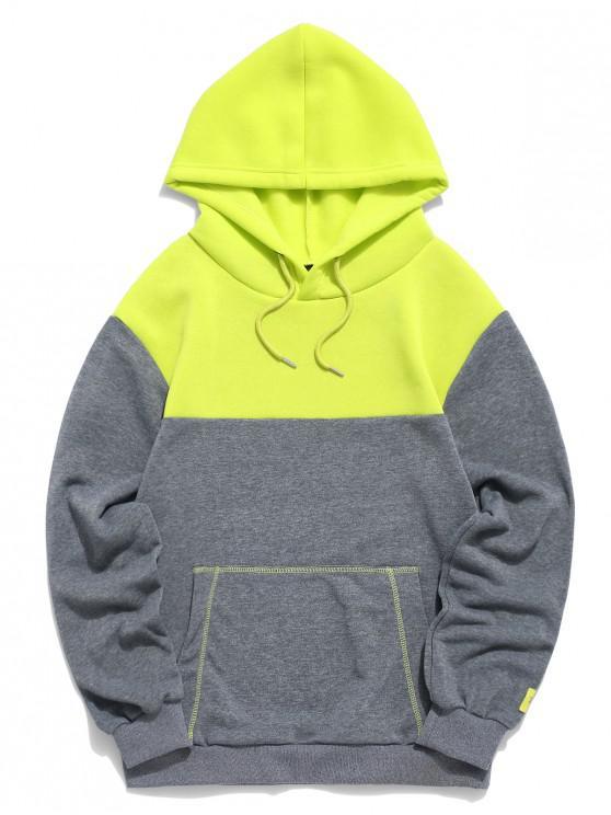 fashion Color-blocking Kangaroo Pocket Drawstring Hoodie - GRAY CLOUD 2XL