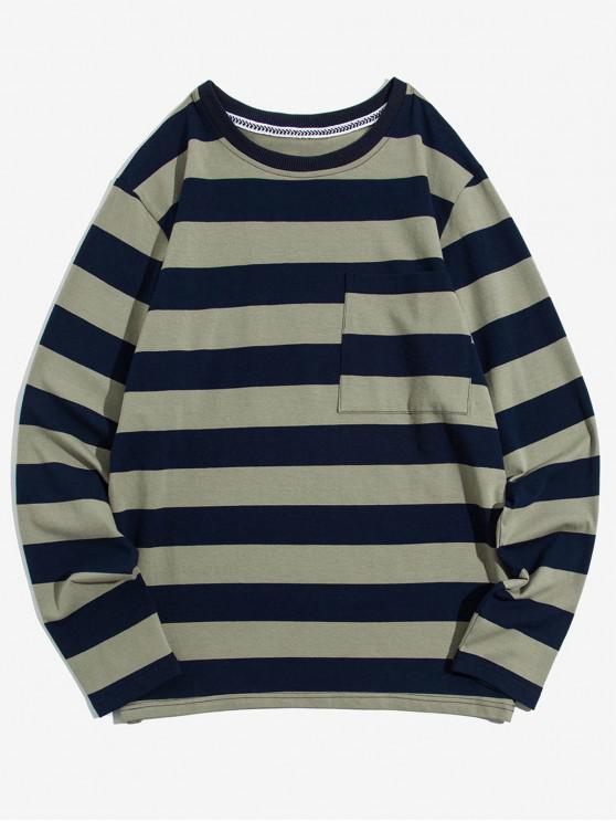 new Colorblock Striped Chest Pocket Long Sleeve T-shirt - LIGHT KHAKI L