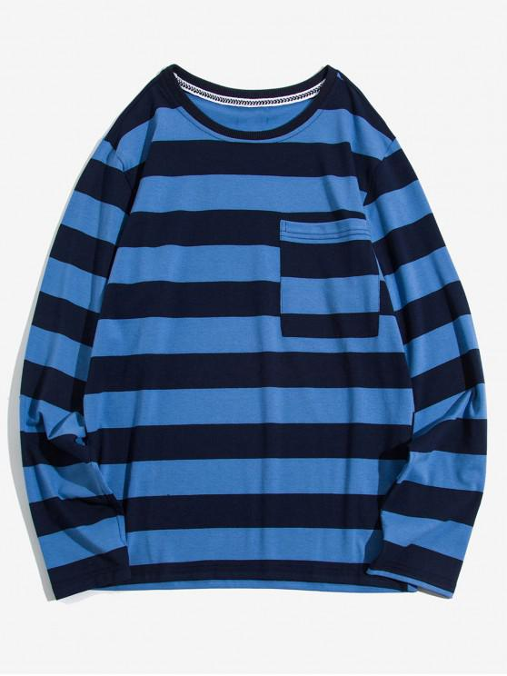 unique Colorblock Striped Chest Pocket Long Sleeve T-shirt - CADETBLUE L