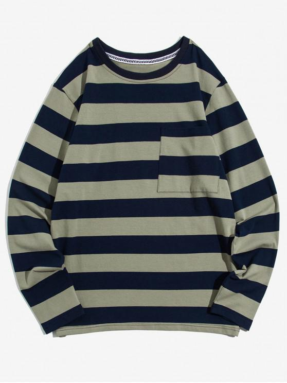 chic Colorblock Striped Chest Pocket Long Sleeve T-shirt - LIGHT KHAKI XS