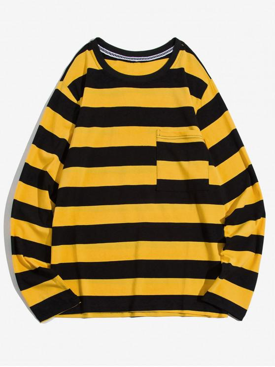 women Colorblock Striped Chest Pocket Long Sleeve T-shirt - YELLOW S