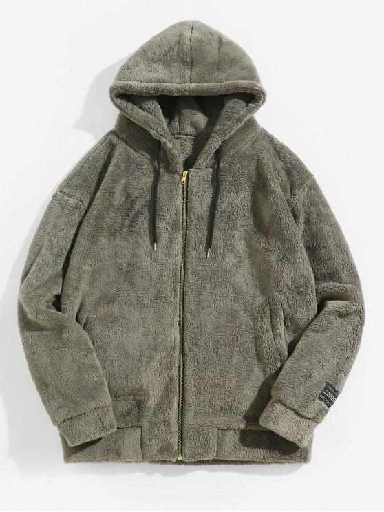 online Casual Fluffy Zip Up Hooded Jacket - ASH GRAY M