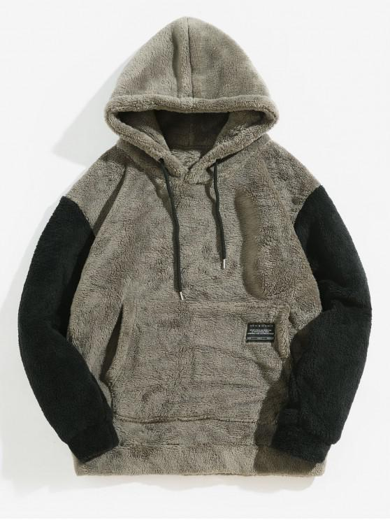 chic Color-blocking Pouch Pocket Fluffy Hoodie - BATTLESHIP GRAY XL