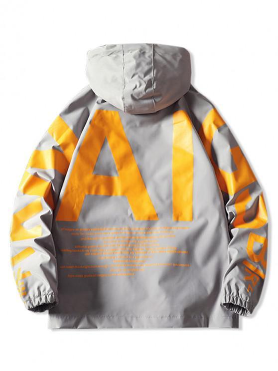 ladies AI Letter Graphic Flap Pocket Raglan Sleeve Hooded Jacket - GRAY M