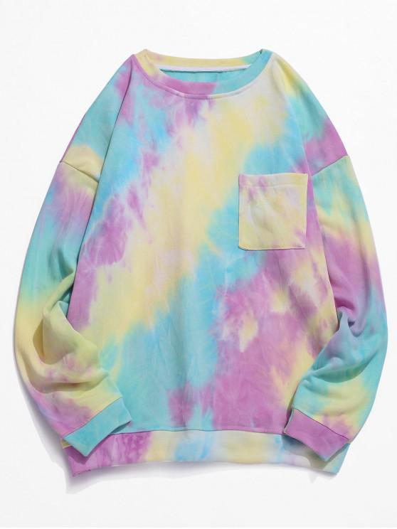 unique Tie Dye Pockets Drop Shoulder Sweatshirt - MULTI-A M