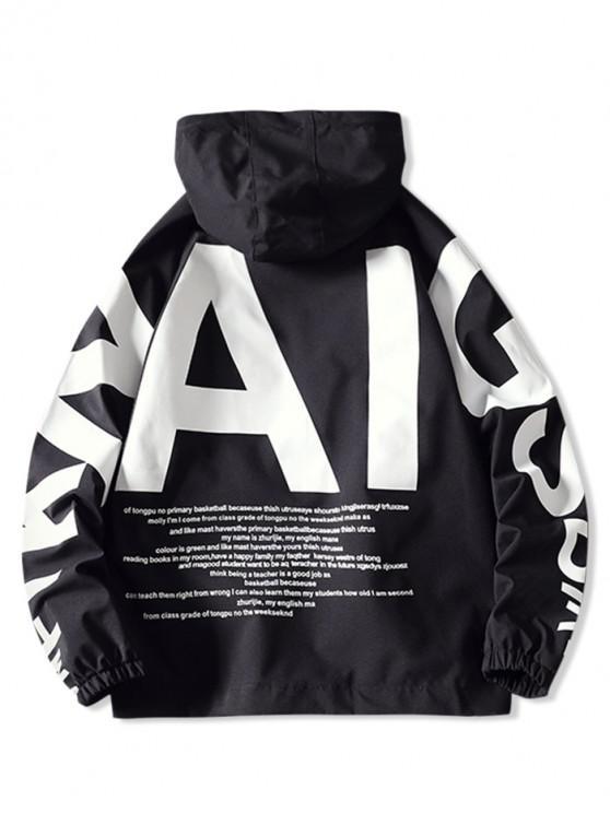 women AI Letter Graphic Flap Pocket Raglan Sleeve Hooded Jacket - BLACK 2XL
