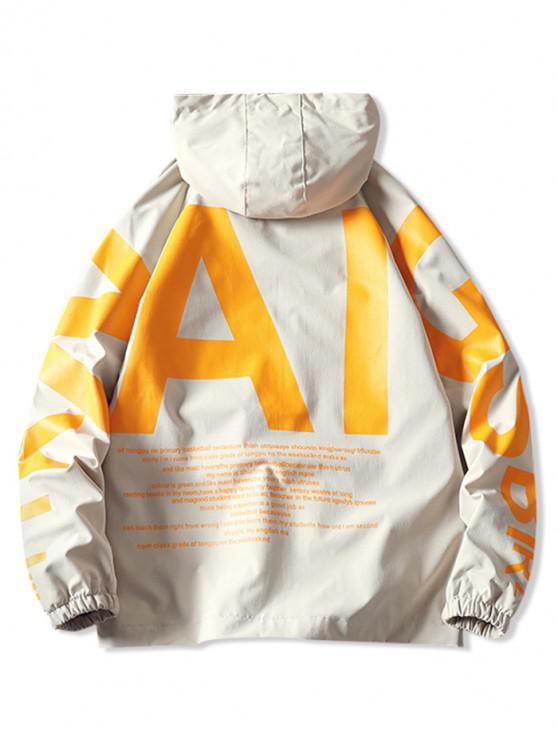 fancy AI Letter Graphic Flap Pocket Raglan Sleeve Hooded Jacket - KHAKI 2XL