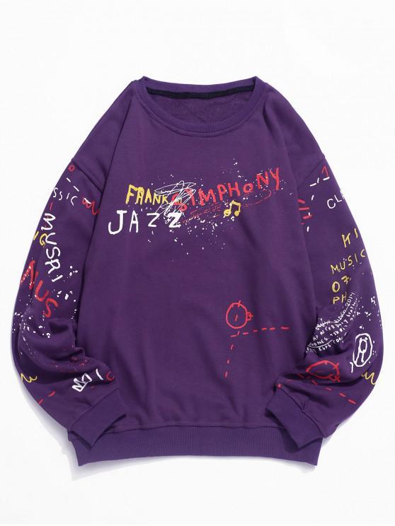 outfit Letter Graffiti Graphic Crew Neck Pullover Sweatshirt - PURPLE 2XL