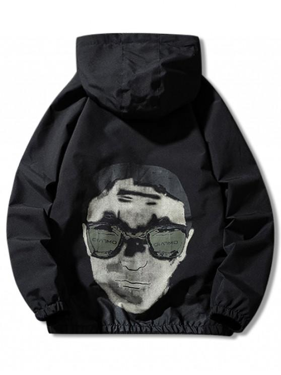 best Letter Character Graphic Print Raglan Sleeve Hooded Jacket - BLACK 2XL