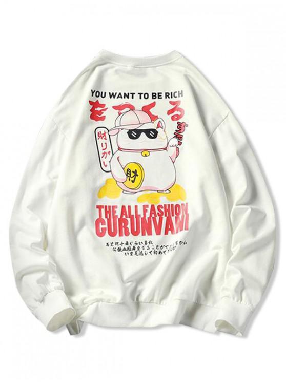 outfits Cartoon Cat Letter Graphic Print Applique Sweatshirt - WHITE M