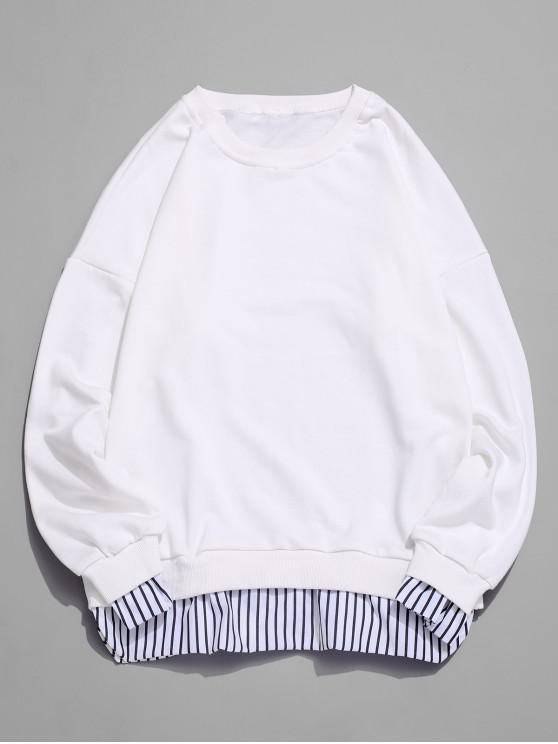 hot Stripes Splicing Side Split Faux Twinset Sweatshirt - WHITE 3XL