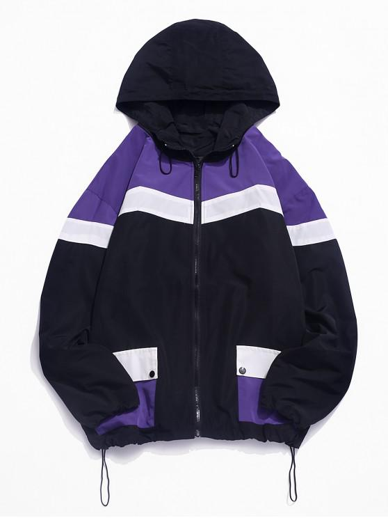 outfit Colorblock Panel Flap Pocket Toggle Drawstring Hooded Jacket - PURPLE M