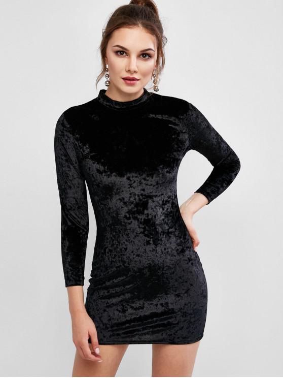 online Velvet Long Sleeve Crew Neck Bodycon Dress - BLACK M