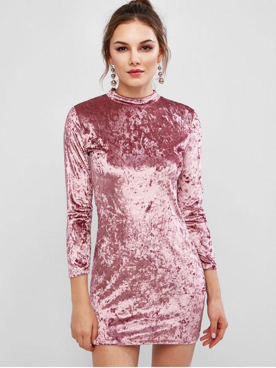 shops Velvet Long Sleeve Crew Neck Bodycon Dress - TULIP PINK M