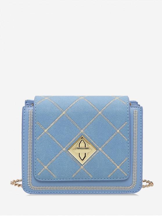 affordable Chic Crossbody Grid Pattern Square Shoulder Bag - SLATE BLUE