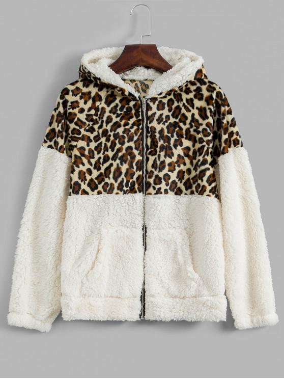 affordable Hooded Zip Up Leopard Panel Teddy Jacket - WHITE S