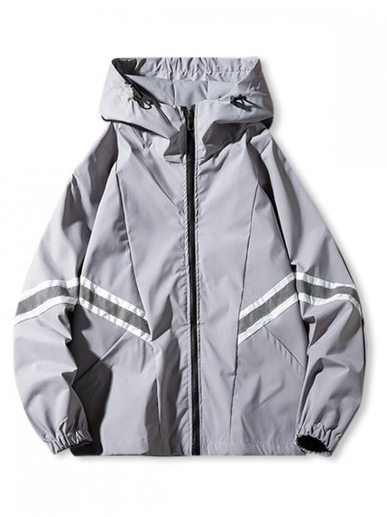 buy Contrast Reflective-trim Spliced Raglan Sleeve Hooded Jacket - GRAY S
