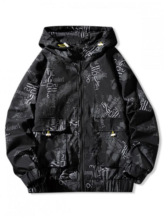 women Flap Pocket Letter Paint Graphic Print Hooded Jacket - BLACK XL