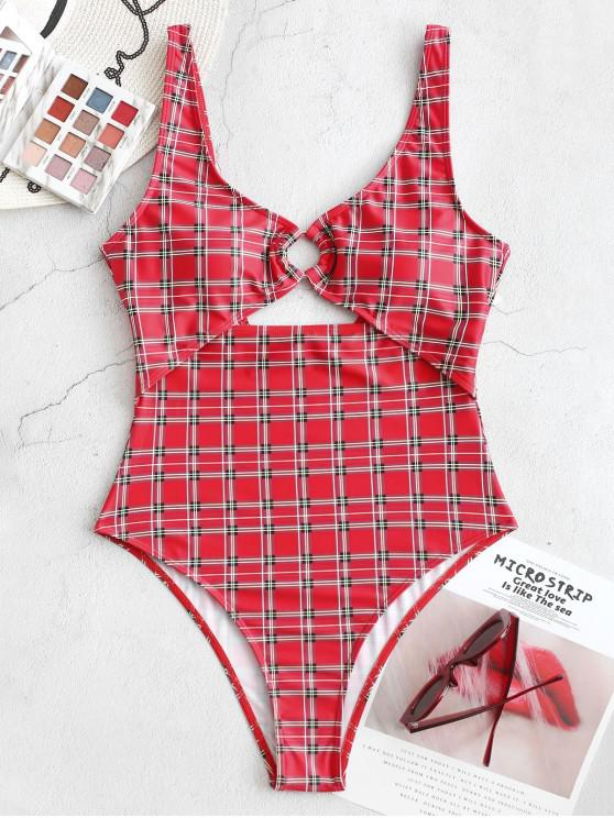 chic ZAFUL Plaid Backless Cutout High Cut One-piece Swimsuit - LAVA RED L