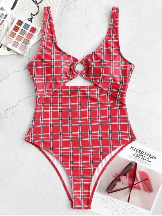ZAFUL manta Backless recorte alta Corte uma peça Swimsuit - Lava Vermelha L