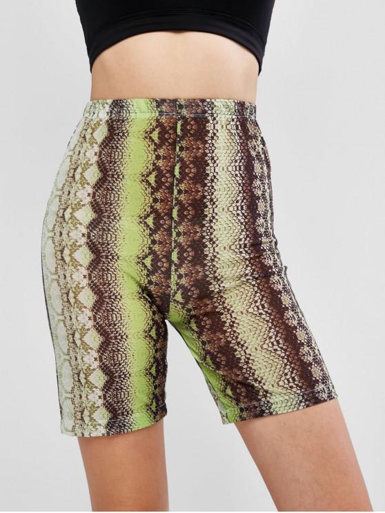 fashion Snake Print Mesh Sheer High Rise Biker Shorts - GREEN L