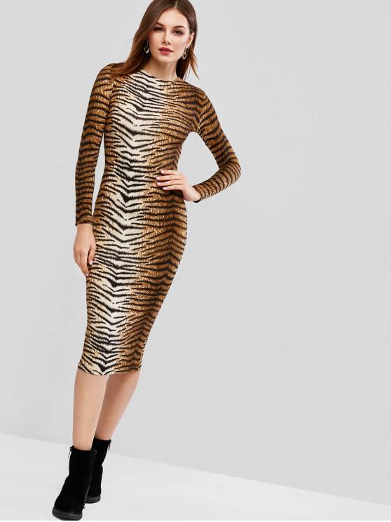 fancy Long Sleeve Tiger Leopard Midi Bodycon Dress - LEOPARD S