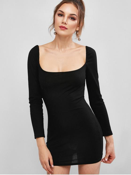 fashion Scoop Ribbed Mini Bodycon Dress - BLACK S