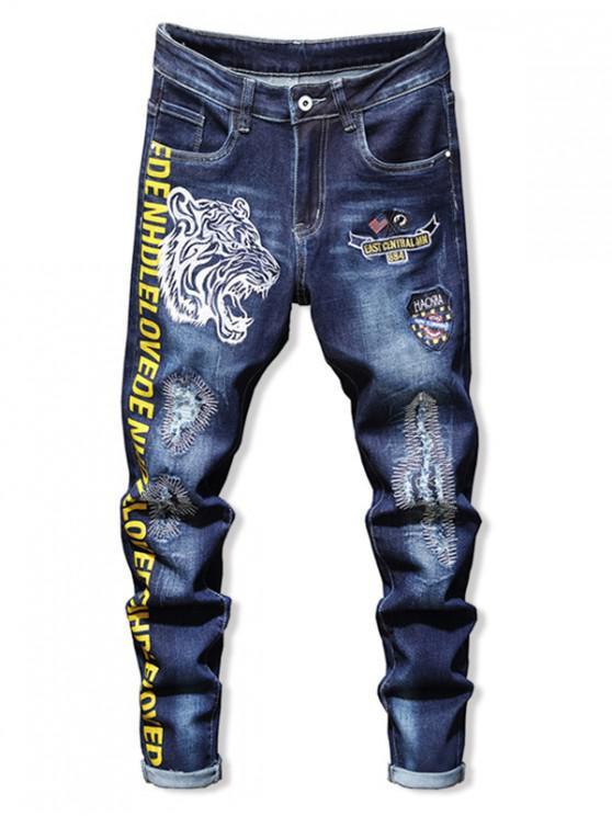 Джинсовые Брюки С Вышитым Тигром Рваные - Джинсовый темно-синий 36