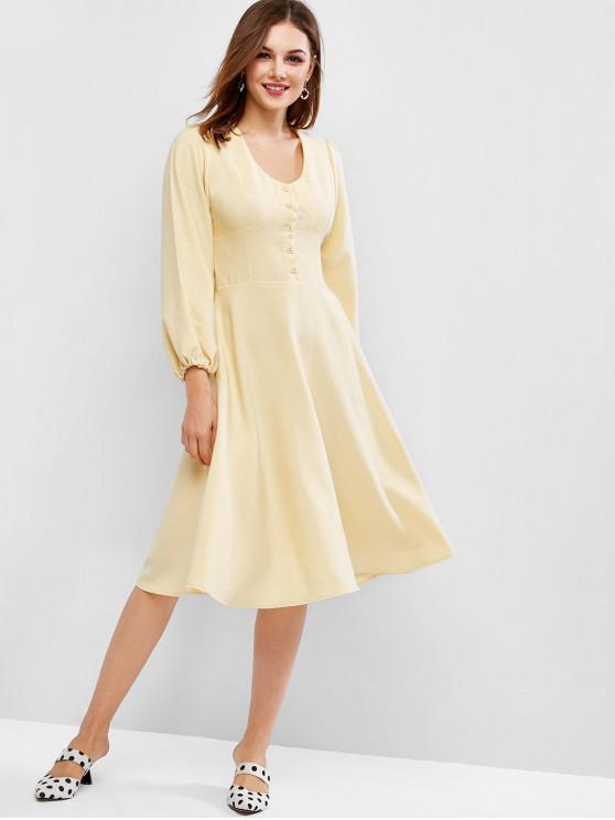 latest Lantern Sleeves Midi Dress - YELLOW S