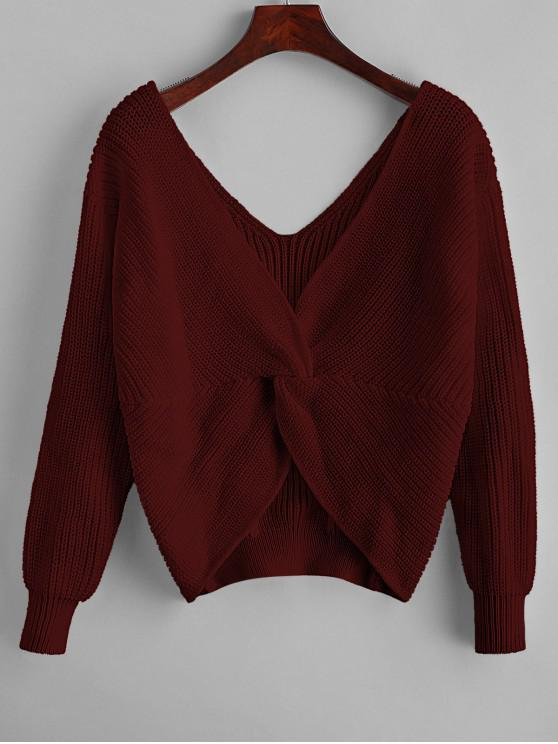 women ZAFUL x Yasmine Bateman Twisted Plunging Drop Shoulder Jumper Sweater - RED WINE L
